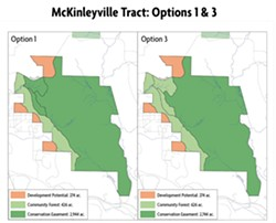 COURTESY OF GREEN DIAMOND - Two variations of what a community forest in McKinleyville could look like.