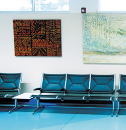 COURTESY OF REDWOOD ART ASSOCIATION. - Augustus Clark's painting hangs among various artists' work at the airport.