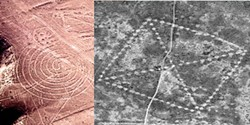 Left: Nazca spiral (Barry Evans). Right: The Ushotgay Square was the first of over 200 geoglyphs recently discovered in Kazakhstan (NASA)