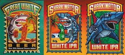 SUBMITTED. - Left to right: Duane Flatmo's Great White Label, Lost Coast Brewery's original Sharkinator, which was pulled from shelves, and the new Sharkinator label by Shawn Griggs.