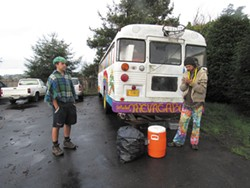 "PHOTO BY LINDA STANSBERRY - Will Yuhlein and Steven Boutwell stand by the recently ""puked"" Vagabus."