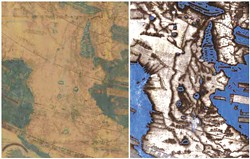 COURTESY OF THE LAZARUS PROJECT / MEGAVISION / RIT / EMEL, COURTESY OF THE BEINECKE LIBRARY - The Arabian Peninsula in Martellus' 1491 map: visible light (left), multispectral imaging (right). The map supported Columbus' contention that Japan was only 90 degrees west of Lisbon (less than half its actual distance).