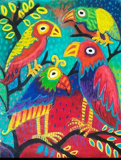 Birds, Mixed Media on Paper, by Joy Dellas at Arcata Artisans