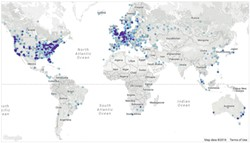 ADDY YEOW/BITNODES - More than 7,000 Bitcoin nodes in nearly 90 countries keep track of every transaction in real time.