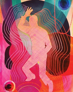 COURTESY OF THE ARTIST - Dancer and dance in Gina Tuzzi's disco-fabulous paintings.