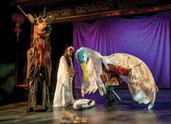 PHOTO BY DAN TUBBS - Heather Karns as the Stag Spirit, Ambar Cuevas as White Snake, Maya Talpai-Vasinthascha as Crane Spirit.