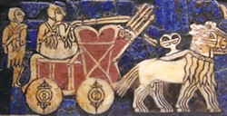 "An onager-drawn cart on the Sumerian ""Battle Standard of Ur,"" about 2500 BC.  Wikipedia/public domain"