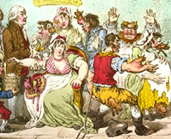 1802 satirical cartoon from Britain's Anti-Vaccine Society, showing cows emerging from people's bodies after they had been vaccinated with Edward Jenner's cowpox vaccine.