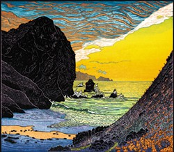 "COURTESY OF THE ARTIST - A spring sun sets over ""Tennessee Cove, Marin Headlands"" by Tom Killion."