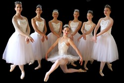 PHOTO BY NATASHA MARIANI - Waltz of the Flowers, dancers from left to right, front row: Annabelle Raven, Carrie Badeaux, Tonya Perry. Back row: Alexandria Lunn, Kim Jackson, Clare Endert, Sequoya Cross, Sarah Alexander.