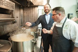 PHOTO BY MARK MCKENNA - Chef Nick Stellino in the kitchen with Dan McHugh, executive chef of the Ingomar Club.