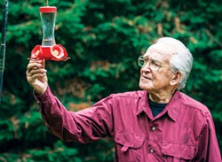 PHOTO BY MARK LARSON - John Hewston inspects a hummingbird feeder in his side yard as the tiny birds were busy feeding on a rainy afternoon.