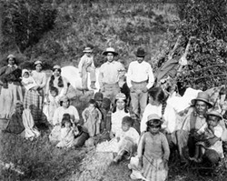 """A. W. ERICSON, """"GROUP OF INDIANS, REDWOOD CREEK, HUMBOLDT CO., CALIFORNIA."""" COURTESY OF HUMBOLDT STATE UNIVERSITY LIBRARY; IMAGE #2003.01.2748. - These Whilkut Indians have left the Hoopa Valley Indian Reservation and returned to their homeland on Redwood Creek."""