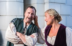 COURTESY OF REDWOOD CURTAIN THEATRE - James Hitchcock and Natasha White exchange barbs as Petruchio and Katharina.