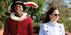 "COURTESY OF DELL'ARTE INTERNATIONAL - Tafadzwa ""Bob"" Mutumbi and Jenny Lamb in Wonderland."