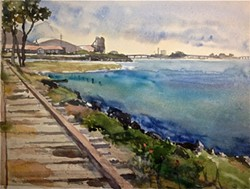 """COURTESY OF THE ARTIST - Paul Rickard's watercolor painting """"Pacific Diamond Mill,"""" 2016."""