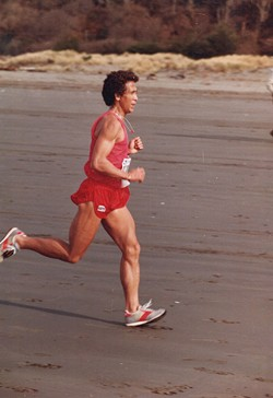COURTESY OF PERI ESCARDA - The author's father at the Clam Beach Run.