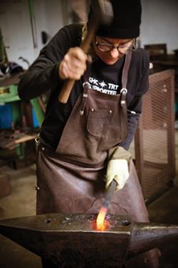 AMY KUMLER - Coyne at the anvil.