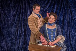 COURTESY OF REDWOOD CURTAIN THEATRE - Charlie Heinberg Voltaire-splaining to Alexandra Blouin as an 18th century scientist.