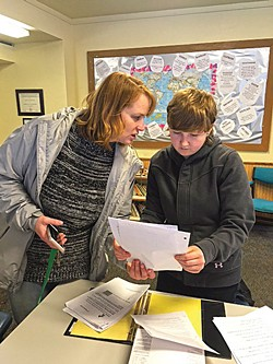 COURTESY OF PACFIC VIEW CHARTER SCHOOL - Pacific View instructor Marny Hulbert works with senior Jaime Connelly.