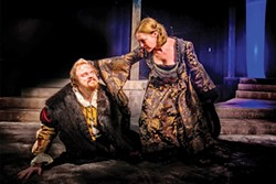 COURTESY OF NORTH COAST REPERTORY THEATRE - Tyler Egerer as Richard III and Andrea Zvaleko as Queen Margaret.