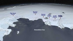 PHOTO BY NASA - The Amundsen sea embayment is the Achilles' heel of West Antarctica, where warm water is increasingly seeping under ice shelves. The Smith glacier lost 1,000-1,500 feet of ice from its underbelly between 2002 and 2009.