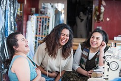 Amy Beltran, Marissa Sanchez and Fiva Pulu in stitches.