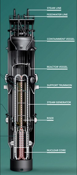 IMAGE BY NUSCALE/CREATIVE COMMONS LICENSE - NuScale 65-foot-long, 9-foot-diameter modular reactor.