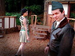 COURTESY OF NORTH COAST REPERTORY THEATRE - Caitlin Wik and Charlie Heinberg in the park for Shakespeare.