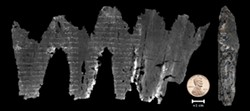 PHOTO COURTESY OF SEALES ET AL., UNIVERSITY OF KENTUCKY - The carbonized En-Gedi scroll, as found in 1970 (right), and part of it virtually unwrapped, revealing Hebrew characters from the Book of Leviticus.