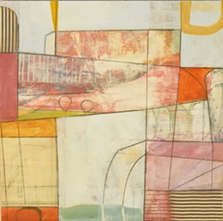 "COURTESY OF THE ARTIST - Teresa Stanley's painting ""Escarpment No. 2,"" contains the ghosts of engineering blueprints."