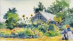 "PHOTO BY BENJAMIN FUNKE - Paul Rickard's watercolor ""Freshwater Gardens."""