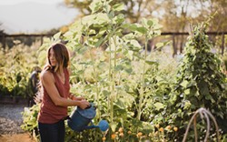 PHOTO BY WEST CLIFF CREATIVE - Emily Murphy in her garden with sunflowers and calendula.