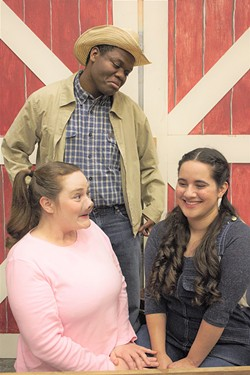 SUBMITTED - Cate Hatfield, Isaiah Alexander and Izzy Ceja down on the farm in Charlotte's Web at HSU.