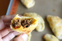 PHOTO BY ANDREA JUAREZ - Homemade empanada with meaty picadillo filling.