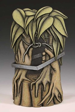 "PHOTO COURTESY OF THE ARTIST - Louis Marak's 2007 earthenware ""Square Root of Tree."""