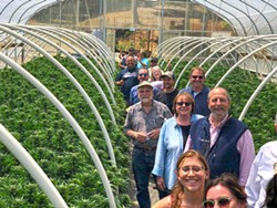 PHOTO COURTESY OF JOHNNY CASALI - Members of the Eureka Humboldt Visitors Bureau tour Huckleberry Hill Farms.