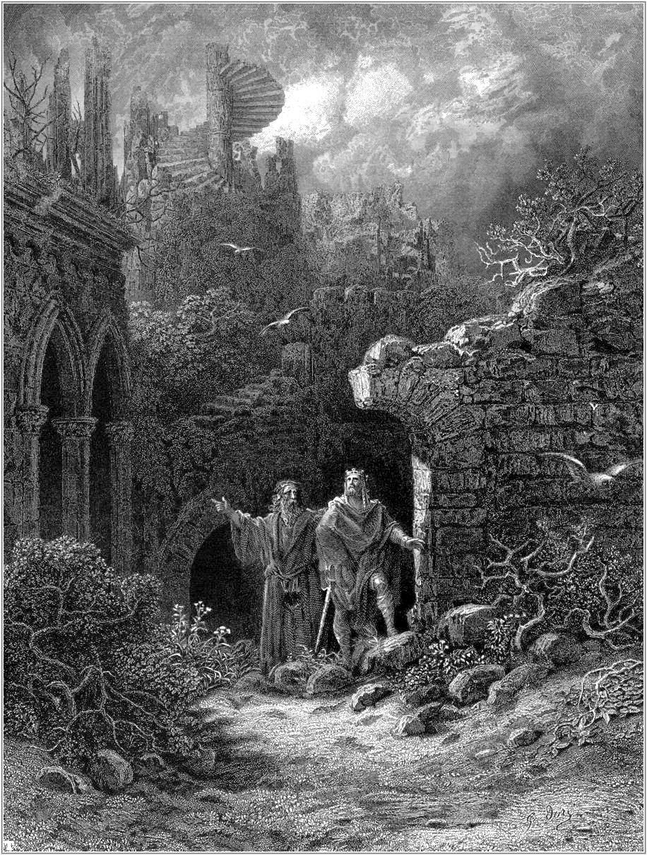 Victorian version of King Arthur with the wizard Merlin: Gustave Doré's romantic 1868 engraving for Tennyson's Idylls of the King. - PUBLIC DOMAIN