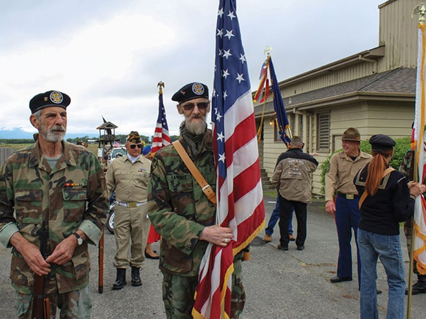 "Vietnam vet ""Digital"" Dan Lawrence (right) prepares to lead the honor guard in Ferndale's Memorial Day Parade. - PHOTO BY BOB DORAN"