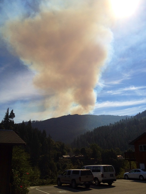 View from the Yurok Tribal office in Weitchpec of smoke from a fire burning on Bald Hill. - PHOTO COURTESY AN NCJ READER