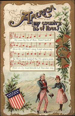 """Vintage postcard """"America (My Country 'Tis of Thee"""")"""