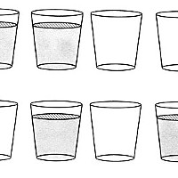 Puzzle Edition What's the minimum number of glasses you need move to change the top arrangement (full-full-full-empty-empty-empty) to the bottom one (full-empty-full-empty-full-empty)?