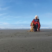 Willow Creek architect Joan Briggs walks 16-week-old Chesapeake Bay retriever Bochy on a long leash at Clam Beach.