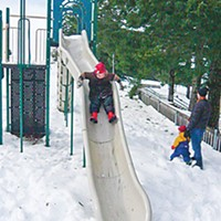 Best Of Humboldt -- Staff Picks Winter joy at Kneeland School. Photo by Hank Sims