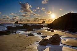 """You may have watched a sunset from the beach at Camel Rock, but odds are you couldn't capture it quite like this. Marc Chaton's """"Sunset — Camel Rock"""" will be among his photos on display at Moonstone Crossing in Trinidad through June."""