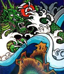You've seen Sonny Wong's graffiti/comic inspired work all over Humboldt — watch him make it live at Eel River Brewing Company.
