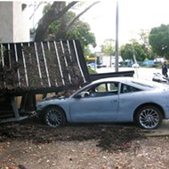 Driverless car demolishes bus stop