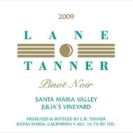 Lane Tanner 2009 Pinot Noir Julia's Vineyard
