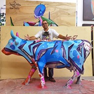 Big cow, little cow: Young local artist works alongside hero Man One at Cow Parade
