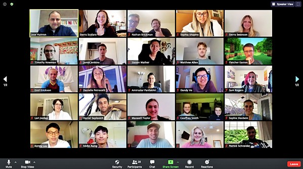 MAKING IT WORK CIE's HotHouse Summer Accelerator program went virtual this year, using online platforms to keep the intensive entrepreneurial program alive. Here, 2020 program participants smile for the camera on a Zoom meeting. - SCREENSHOT COURTESY OF CIE